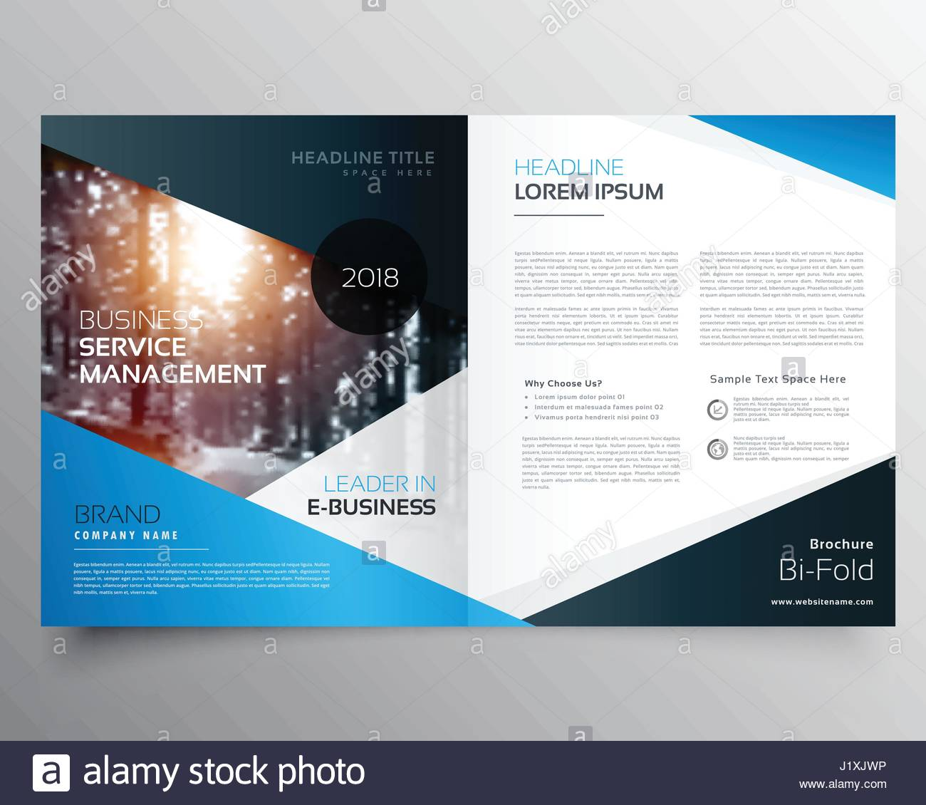 awesome blue magazine cover or bifold brochure template vector