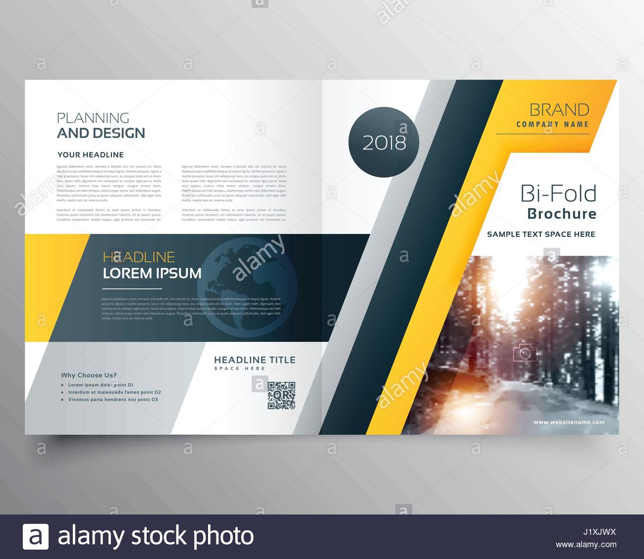 stylish business bifold brichure or magazine cover page design stock