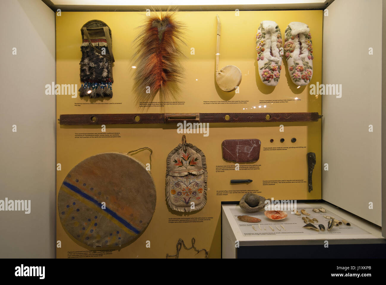 Exhibit about objects and tools of Natives, Manitoba Museum, Winnipeg, Manitoba, Canada - Stock Image