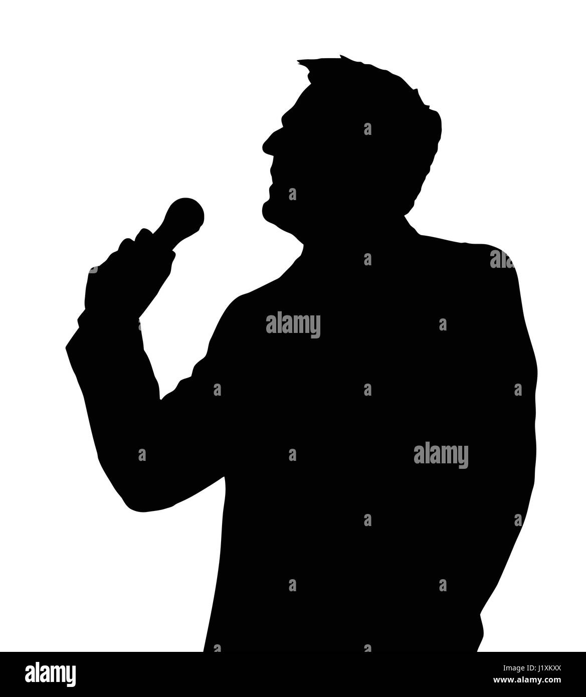 Single Male Opera Singer With Microphone Silhouette Stock