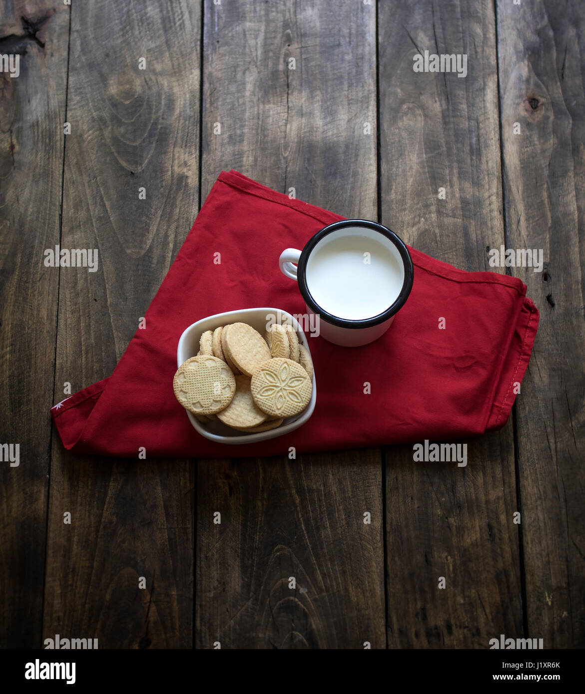 Organic, gluten free sugar cookies with milk, from above - Stock Image