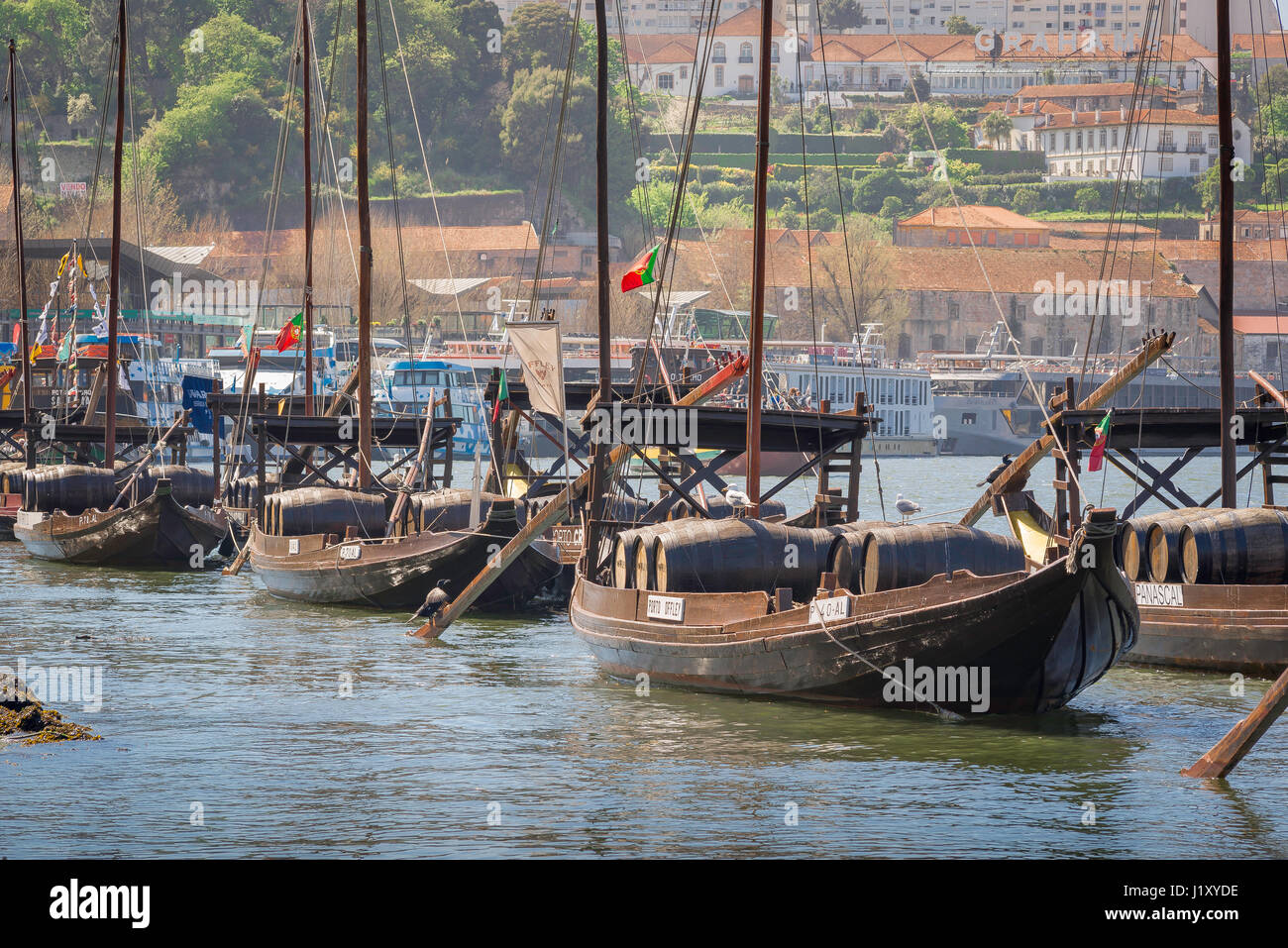 Rabelo boat Porto, traditional rabelo boats on the Rio Douro moored along the waterfront in Porto, Europe. Stock Photo