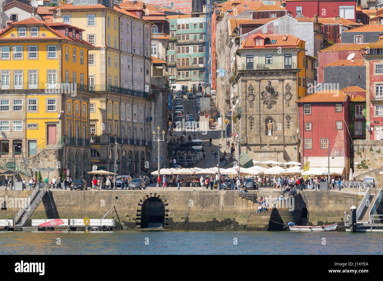 Ribeira Porto Portugal, view of the historic old town waterfront buildings of the Ribeira district along the Douro - Stock Image