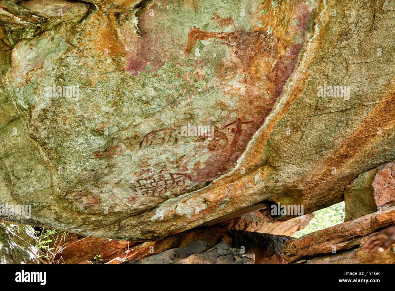 Rock art, ancient San paintings, Tsodilo Hills, Botswana, Africa - Stock Image