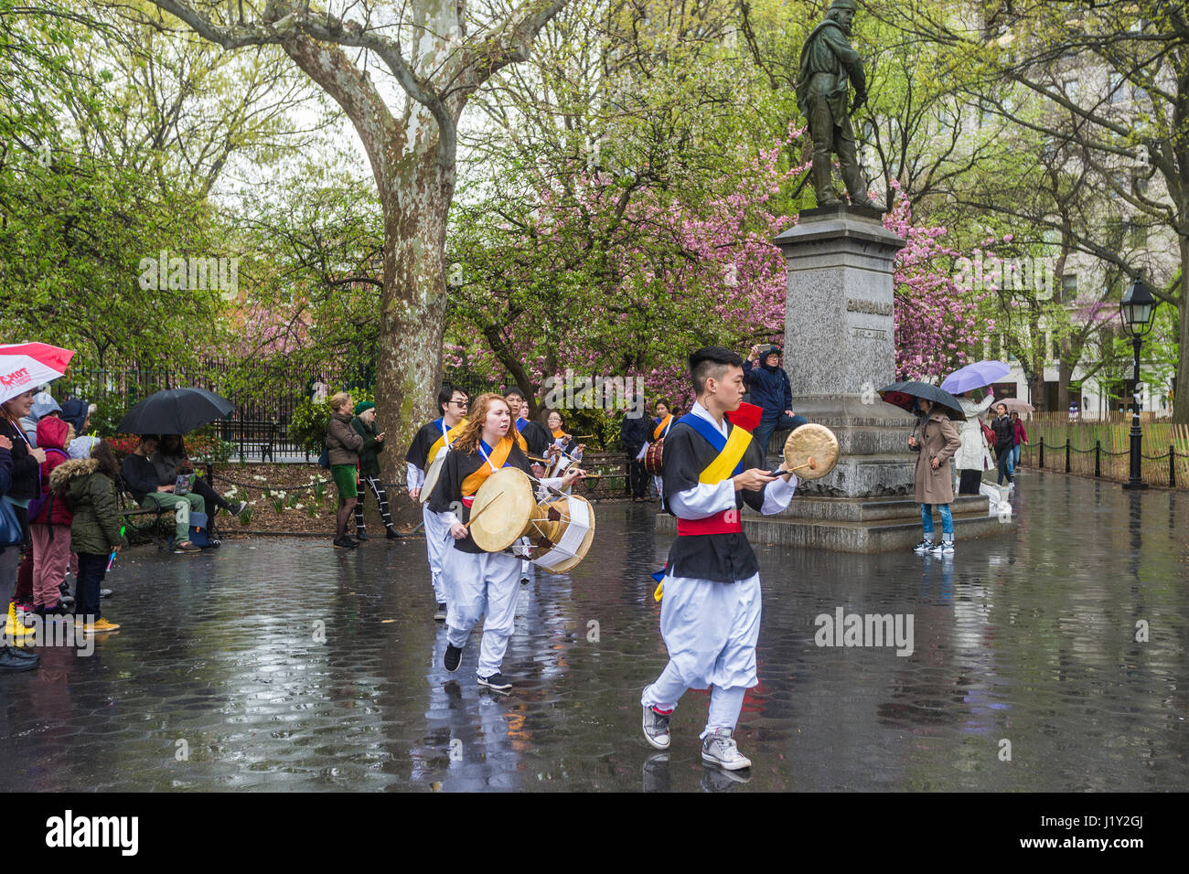 New York, NY 22 April 2017 - Korean NYU Students drum procession in Washington Square Park on Earth Day. © Stacy Stock Photo