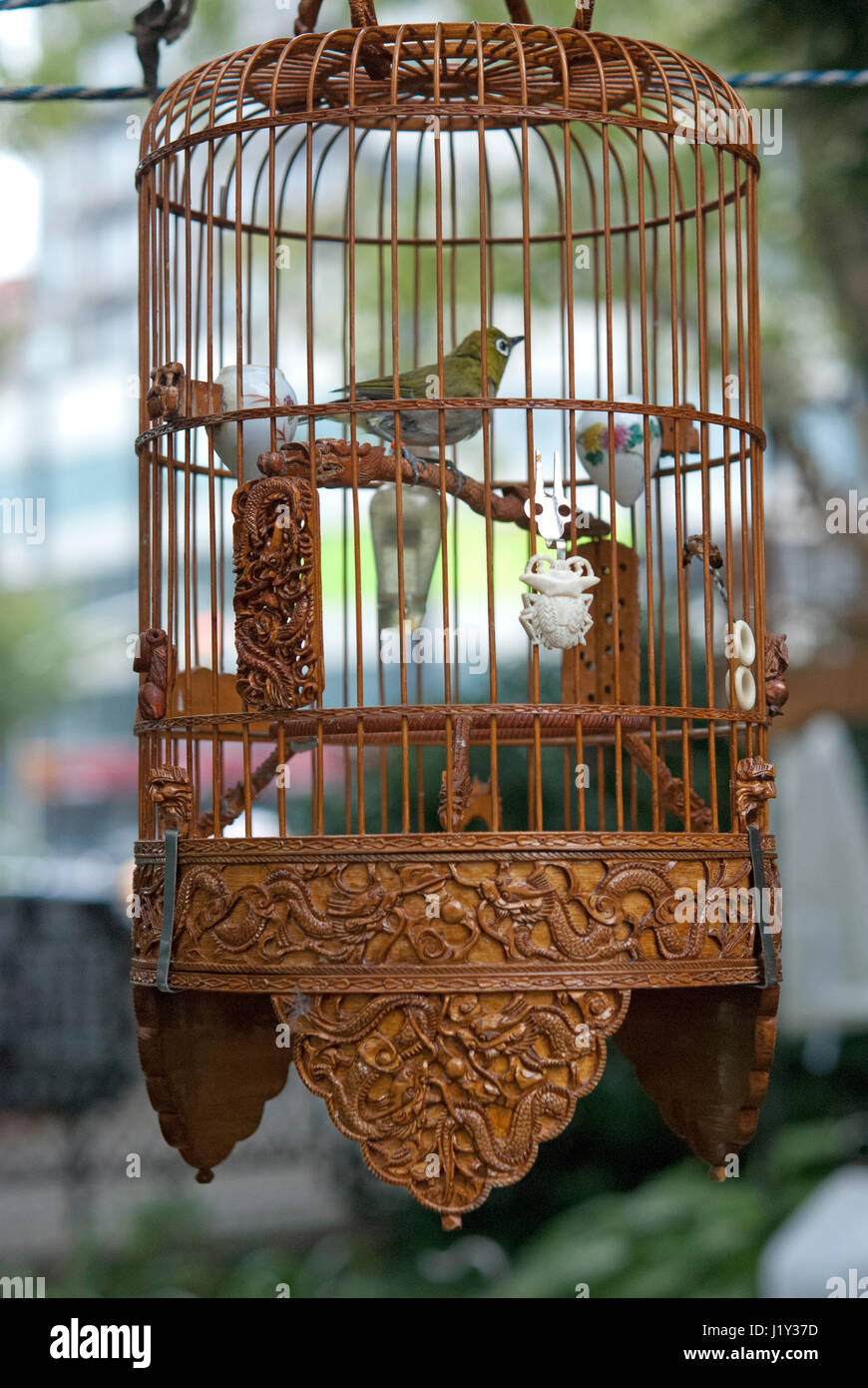 Carved wooden bird cage at Hua Mei Bird Garden in New York Chinatown ...