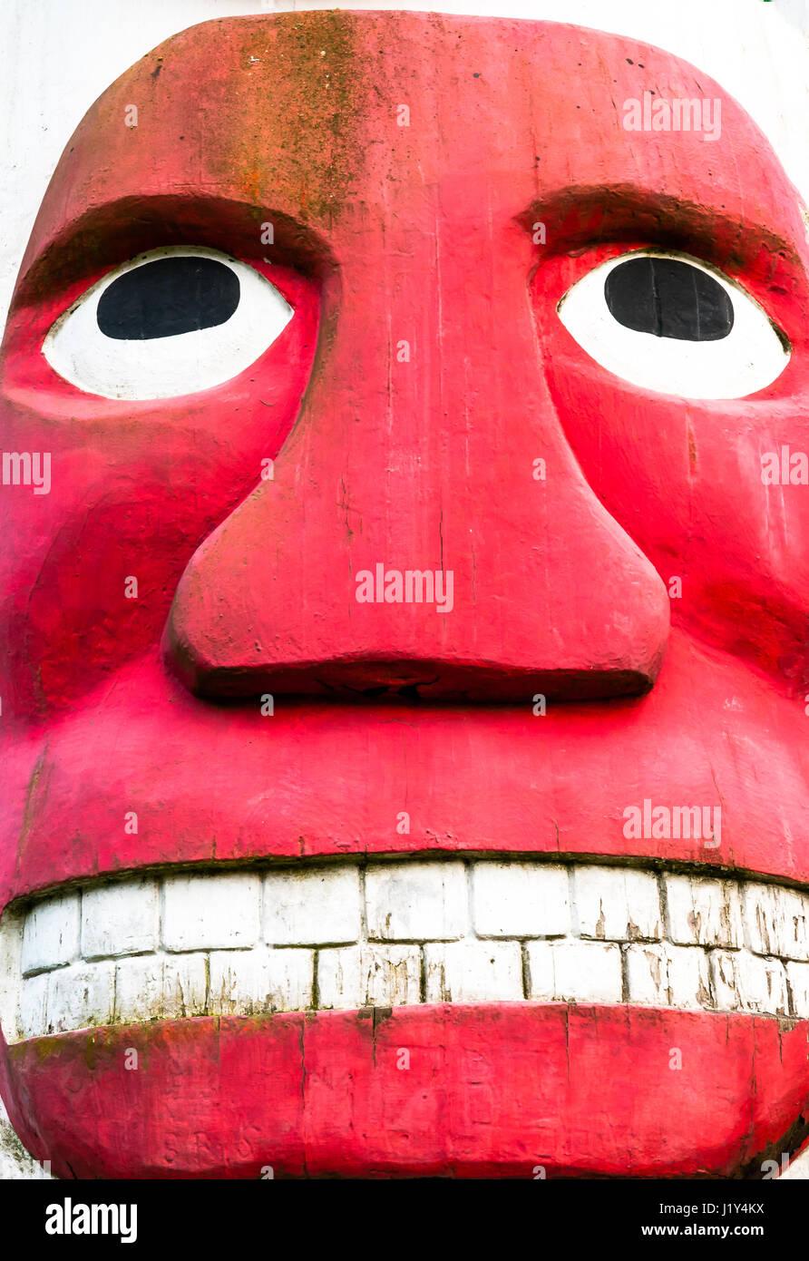 Detail of totem pole, close-up, Olympia, Washington, USA - Stock Image