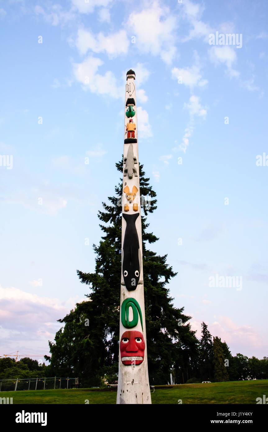 Totem pole, Olympia, Washington, USA - Stock Image