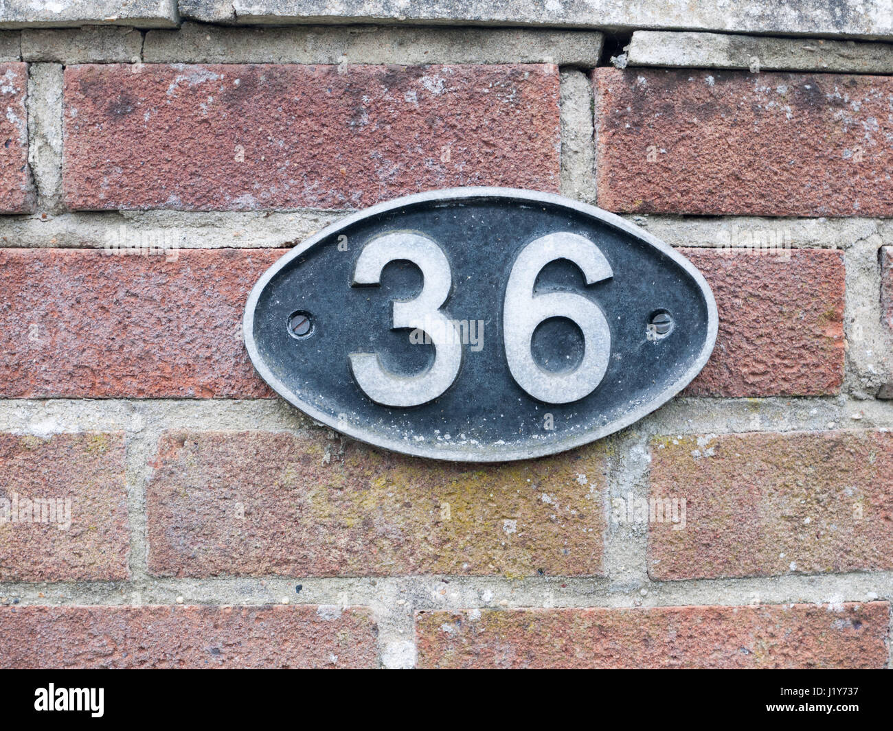 A Number Plate On Brick Wall With 36 It Oval Black Sign Stamp Metal Tag