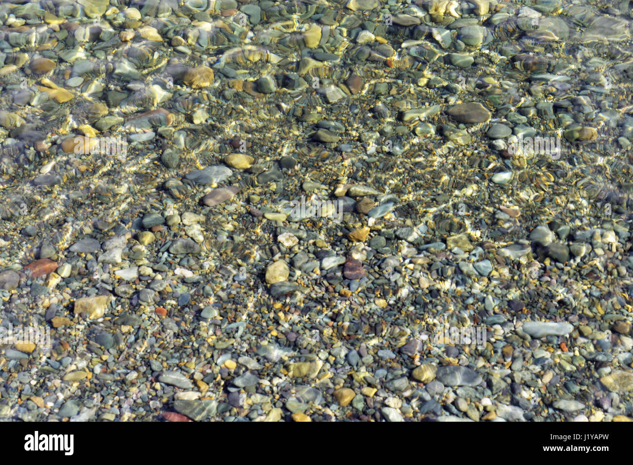 Multicolored pebbles under the water under the sunlight as a background. Focus on the water surfaceenvironment - Stock Image