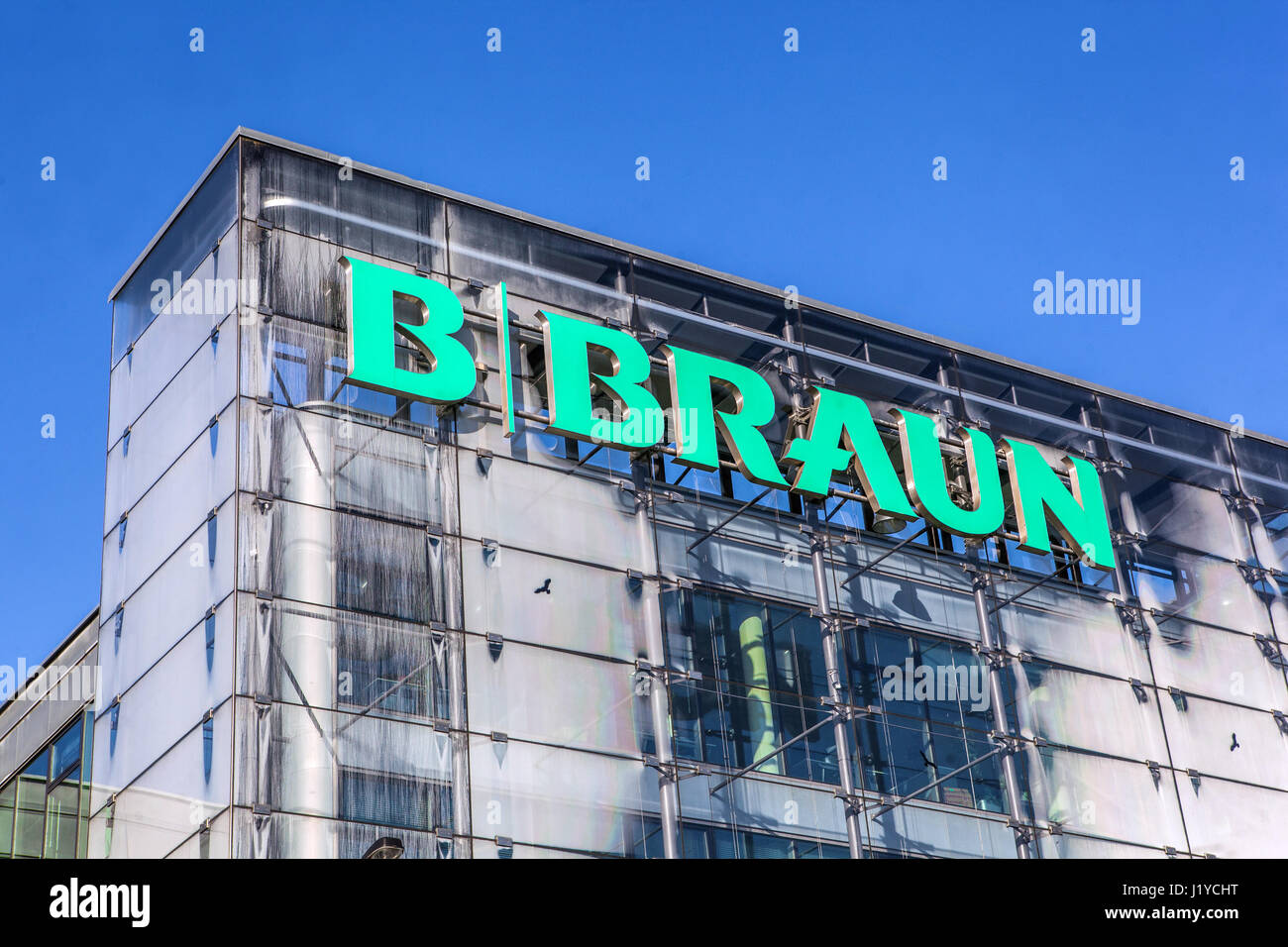 B Braun, Logo, Sign, Prague, Czech Republic, Europe Stock Photo