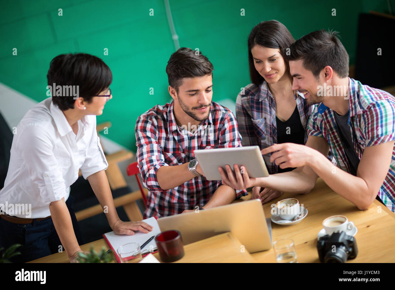 Group of student on meeting in the cafee - Stock Image