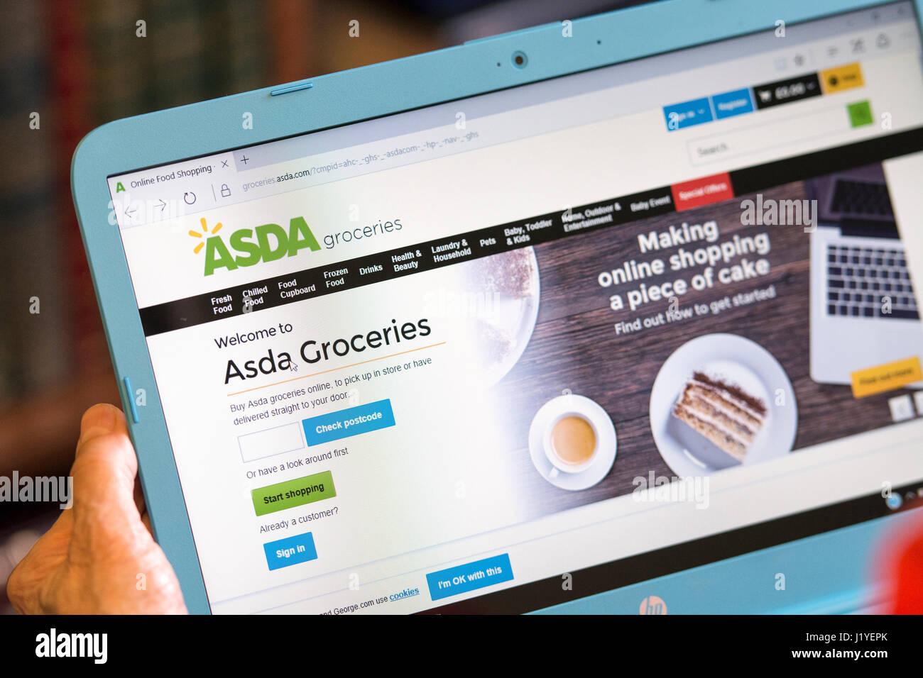 ASDA Groceries website, Screen on Tablet Laptop - Stock Image