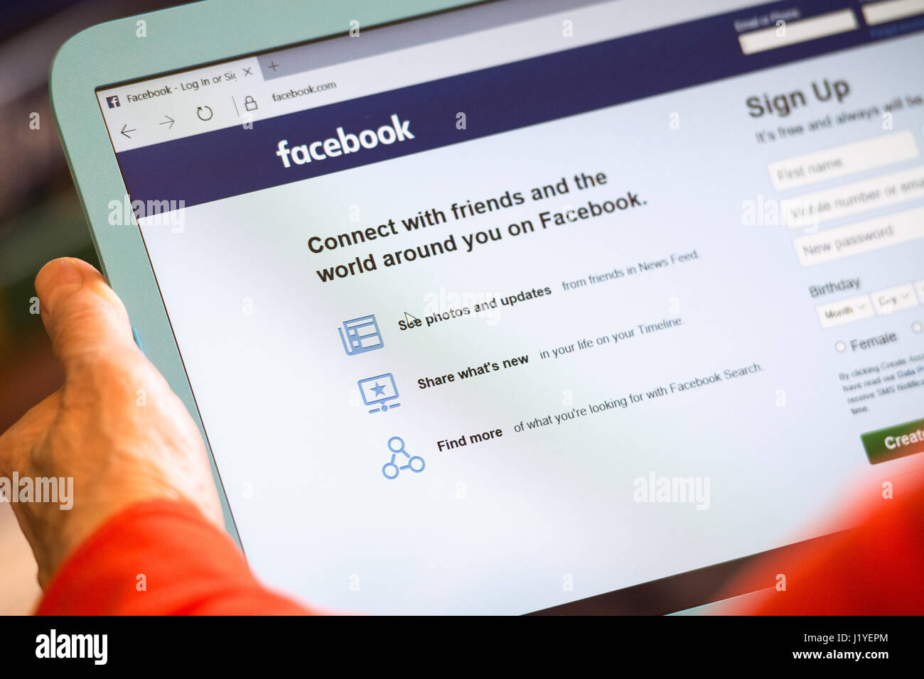 Facebook Login Screen Sign Up Log in Web page sceen Tablet monitor - Stock Image