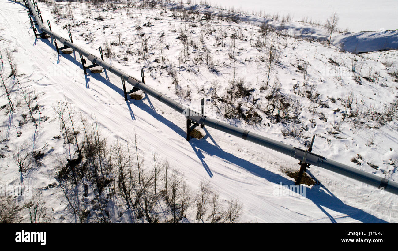 The Trans-Alaska Pipeline System (TAPS) includes the trans-Alaska crude-oil pipeline, 11 pump stations, several - Stock Image