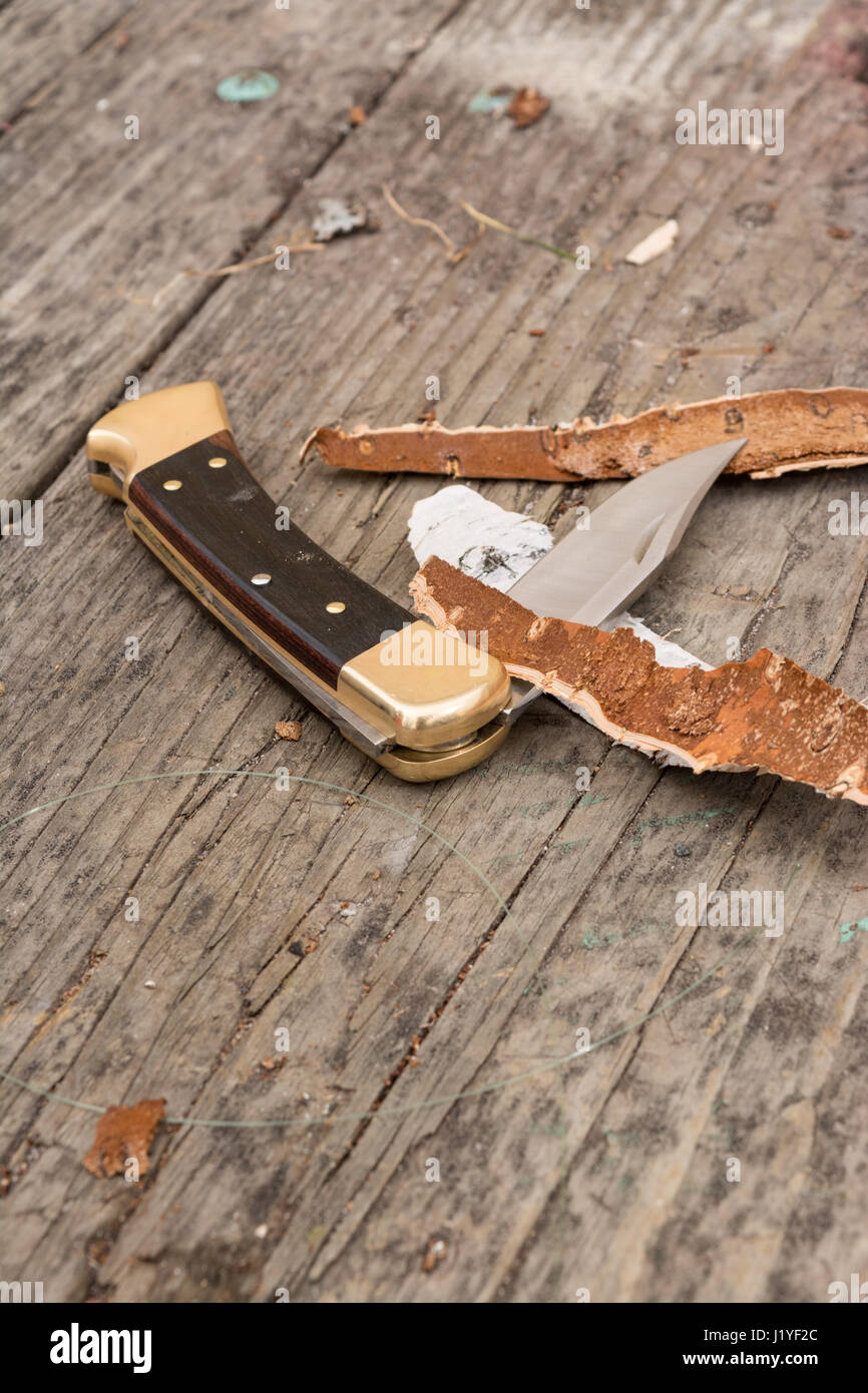 Folding pocket knife on wood table with wood shavings surrounding it. - Stock Image