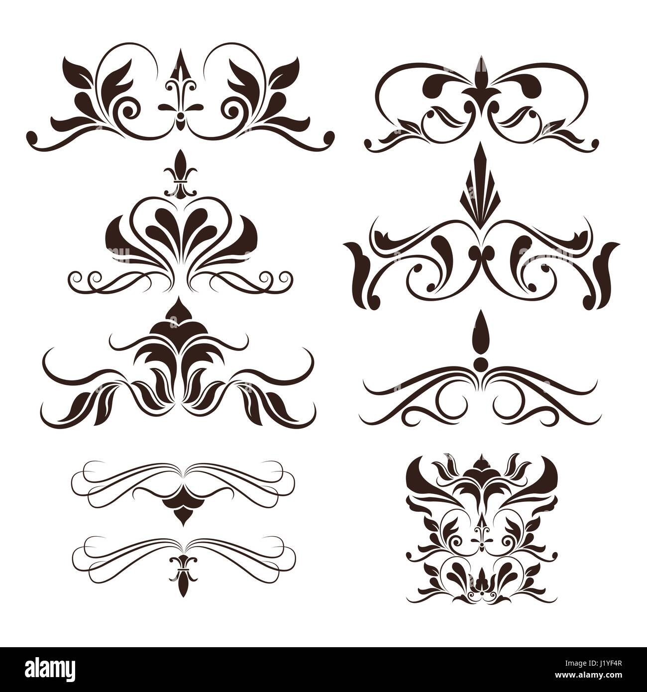 swirls element decorative vintage collection design - Stock Image