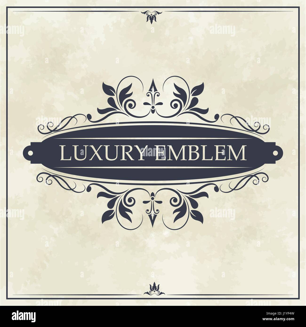 luxury emblem swirl ornament typographic design - Stock Image