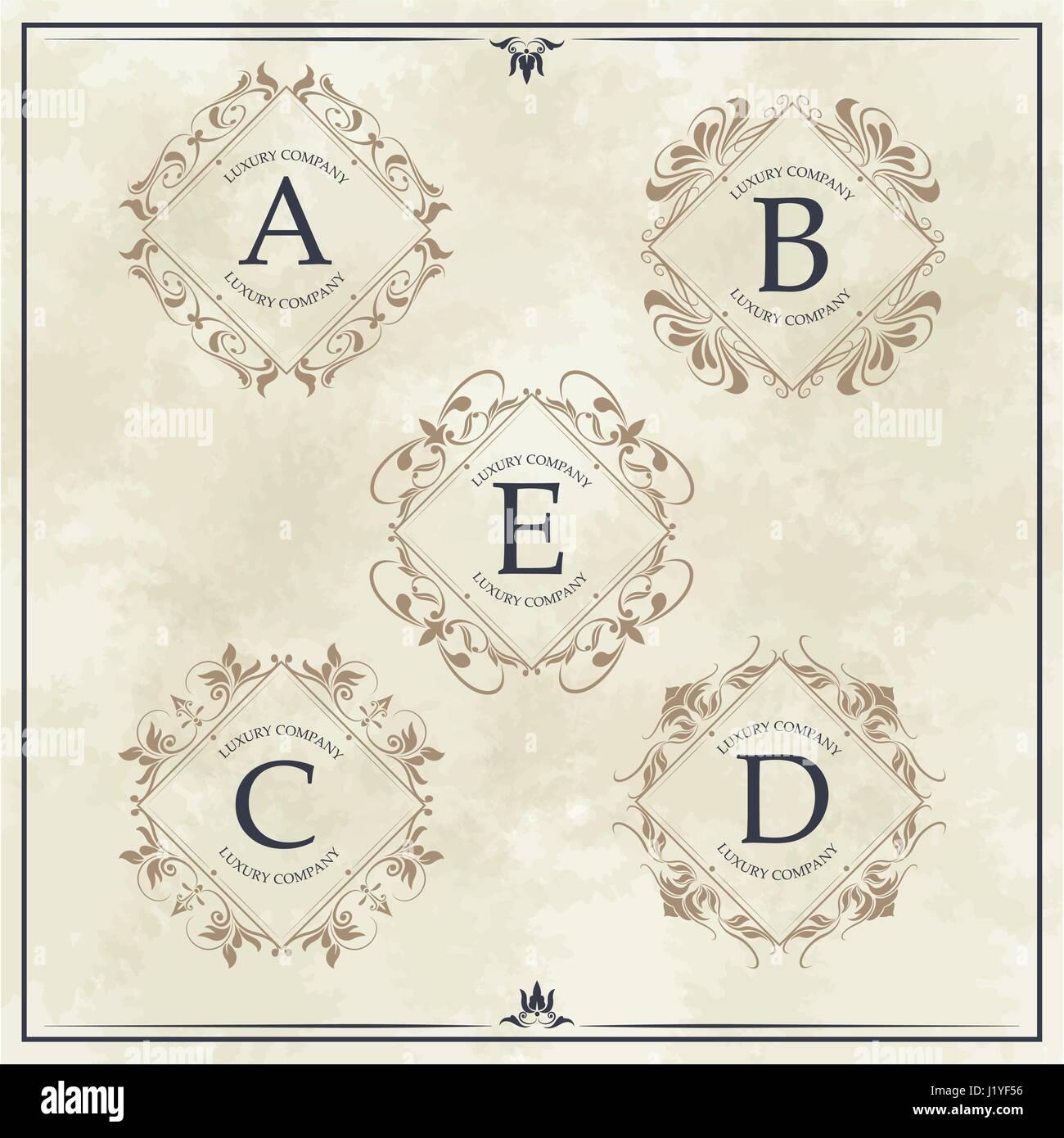 luxury company monogram typographic identity template - Stock Image