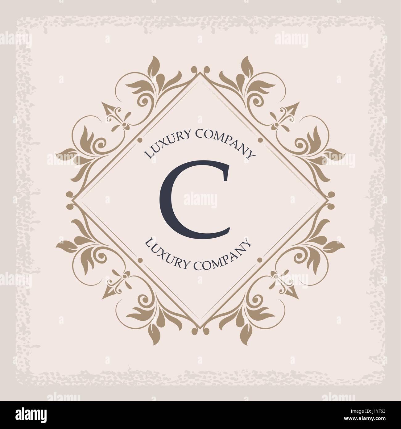 luxury company C monogram vintage elegant typographic - Stock Image