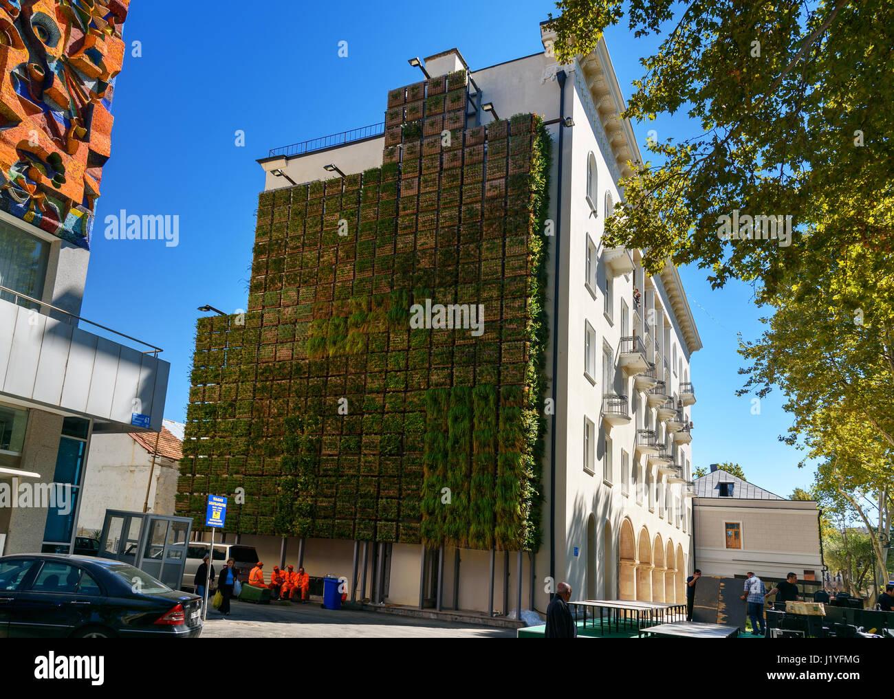 Tbilisi, Georgia - September 25, 2016: Vertical garden on the Stock ...