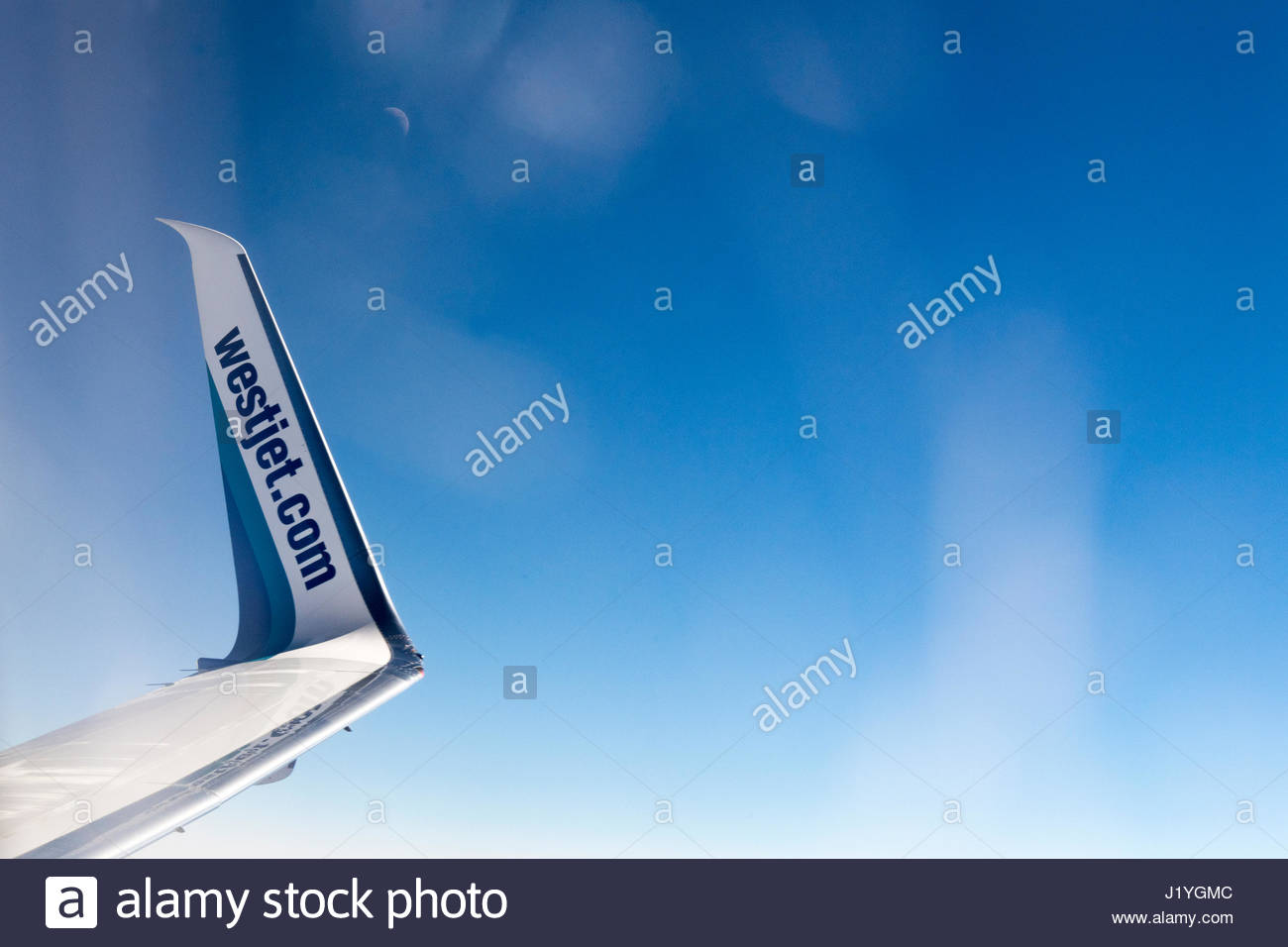 Winglet detail of a Westjet plane. The aircraft is a Boeing 737. The Boeing 737 is an American short- to medium - Stock Image