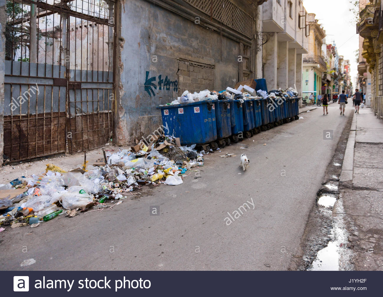 Cuba social issues: unhygienic 'Teniente Rey' street in Old Havana. Lack of garbage pick up. The street is one of Stock Photo