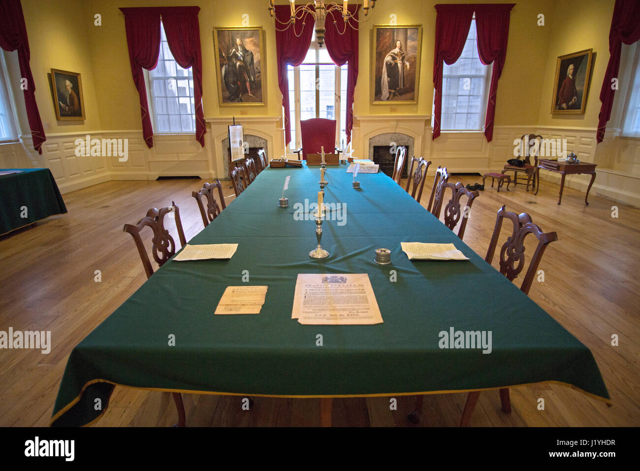 The Council Chamber room at the Old State House in Boston, Massachusetts. - Stock Image
