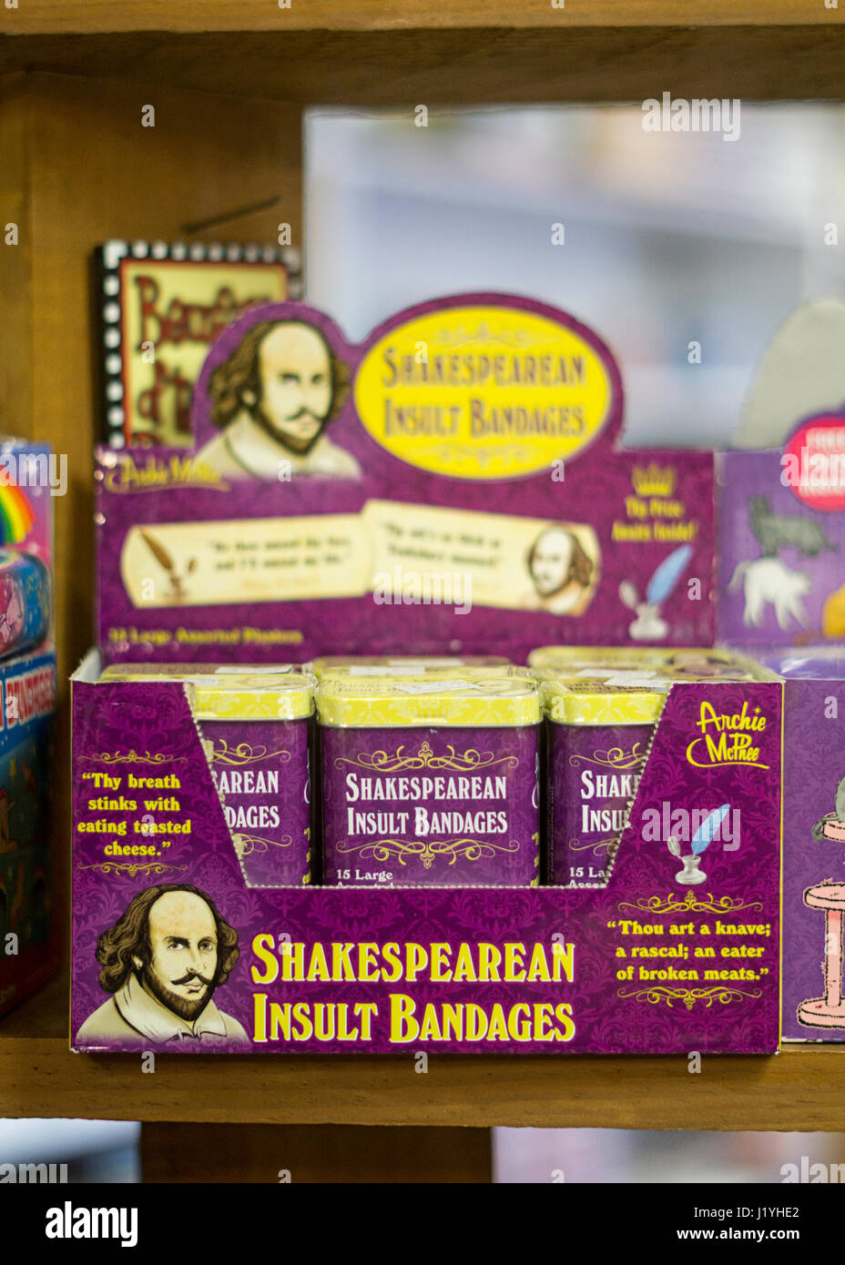 Shakespeare insult bandages for sale at the Bearskin Neck Country Store in Rockport, Massachusetts. - Stock Image