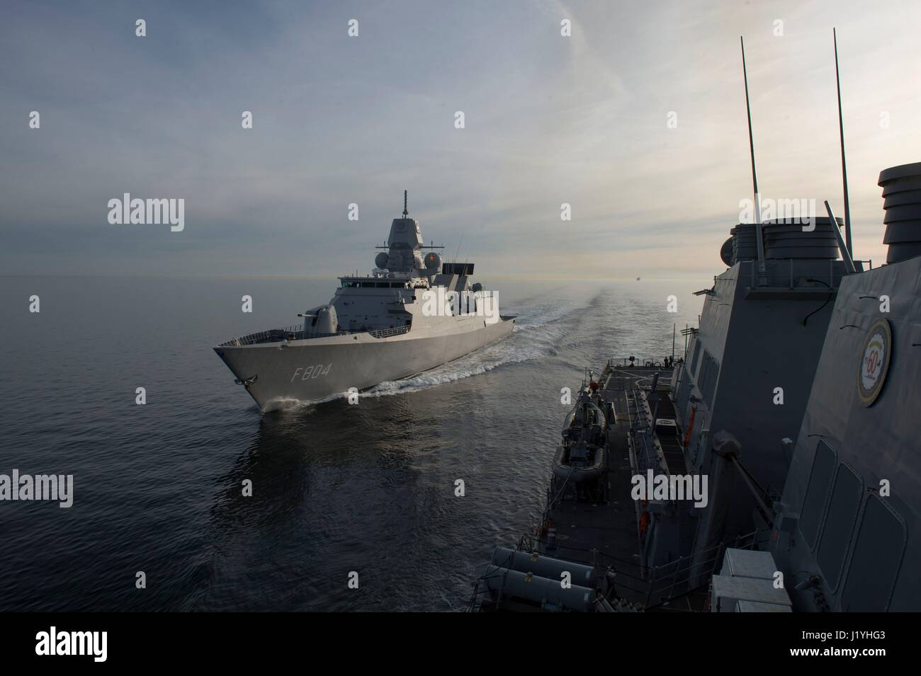 The Royal Netherlands Navy De Zeven Provincien-class frigate HNLMS De Ruyter steams underway during exercise Joint Stock Photo
