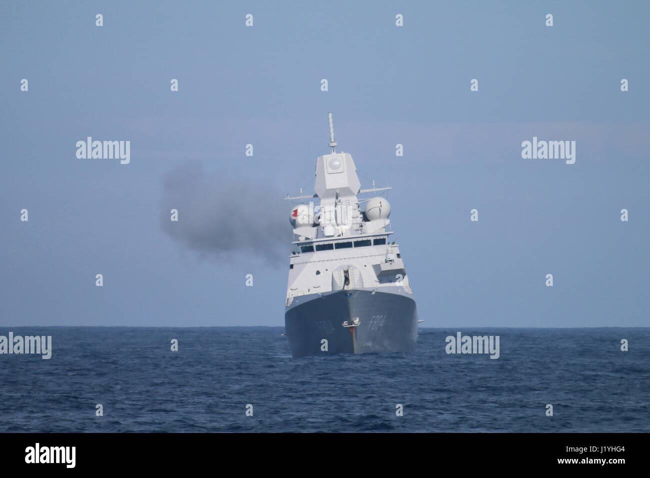 The Royal Netherlands Navy De Zeven Provincien-class frigate HNLMS De Ruyter conducts a live-fire gunnery exercise Stock Photo
