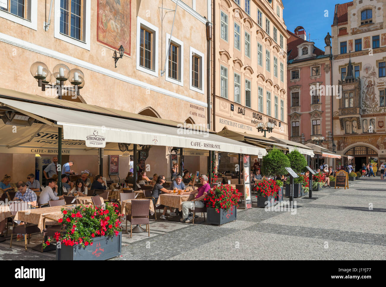 Cafe in the Old Town Square, Stare Mesto,, Prague, Czech Republic - Stock Image