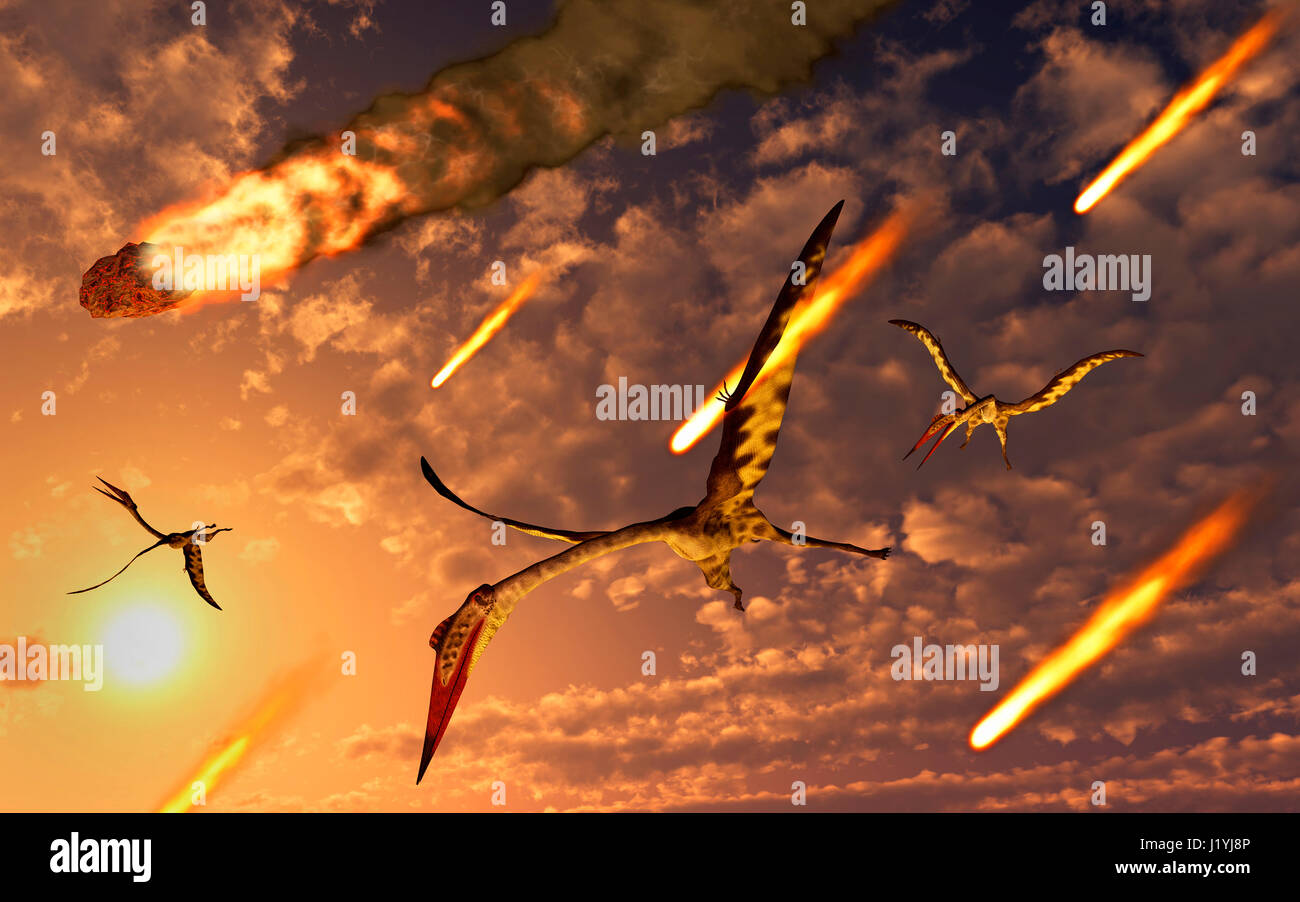 Flying Quetzalcoatlus Witnessing A falling Asteroid & Meteorites That Brought About The Cretaceous Paleogene Extinction Stock Photo