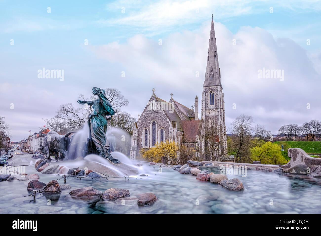 Gefion Fountain, St Alban's church, Copenhagen, Scandinavia, Denmark - Stock Image