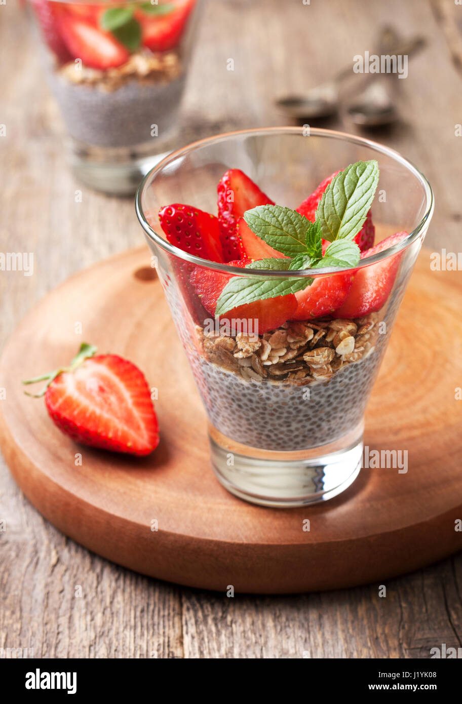 Diet Healthy Breakfast Chia Pudding Strawberries And Muesli In A