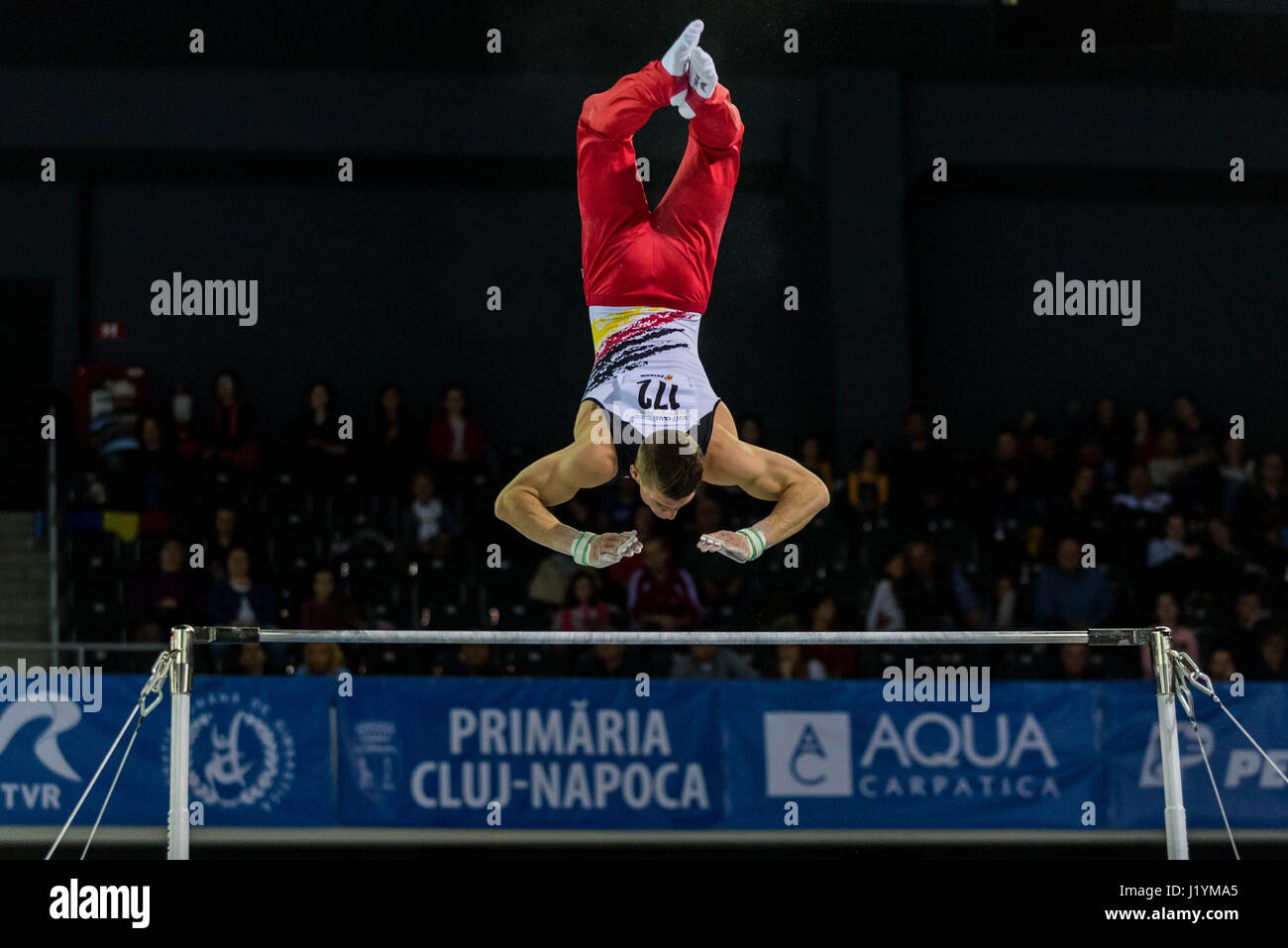 Cluj Napoca, Romania. 21st Apr, 2017. Lukas Dauser from Germany performs at the bar at the UEG European Championships - Stock Image