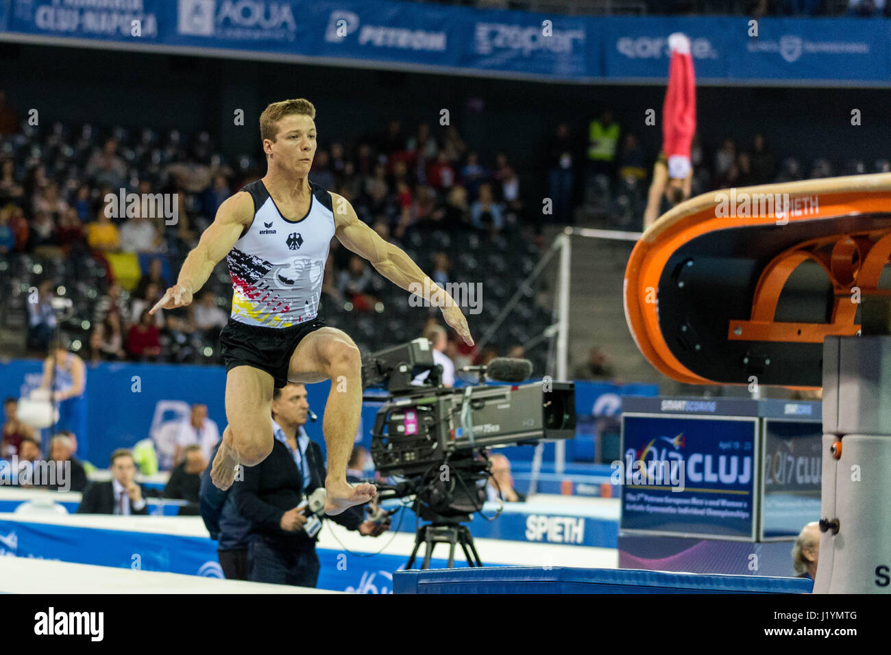 Cluj Napoca, Romania. 21st Apr, 2017. Philipp Herder from Germany performs at the vault at the UEG European Championships Stock Photo