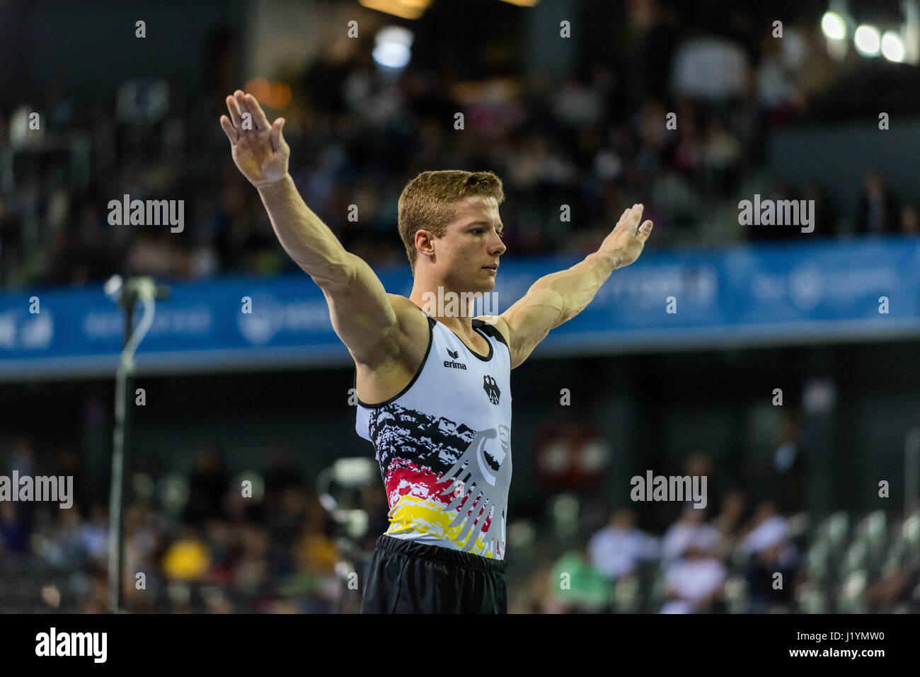 Cluj Napoca, Romania. 21st Apr, 2017. Philipp Herder from Germany performs at the vault at the UEG European Championships - Stock Image
