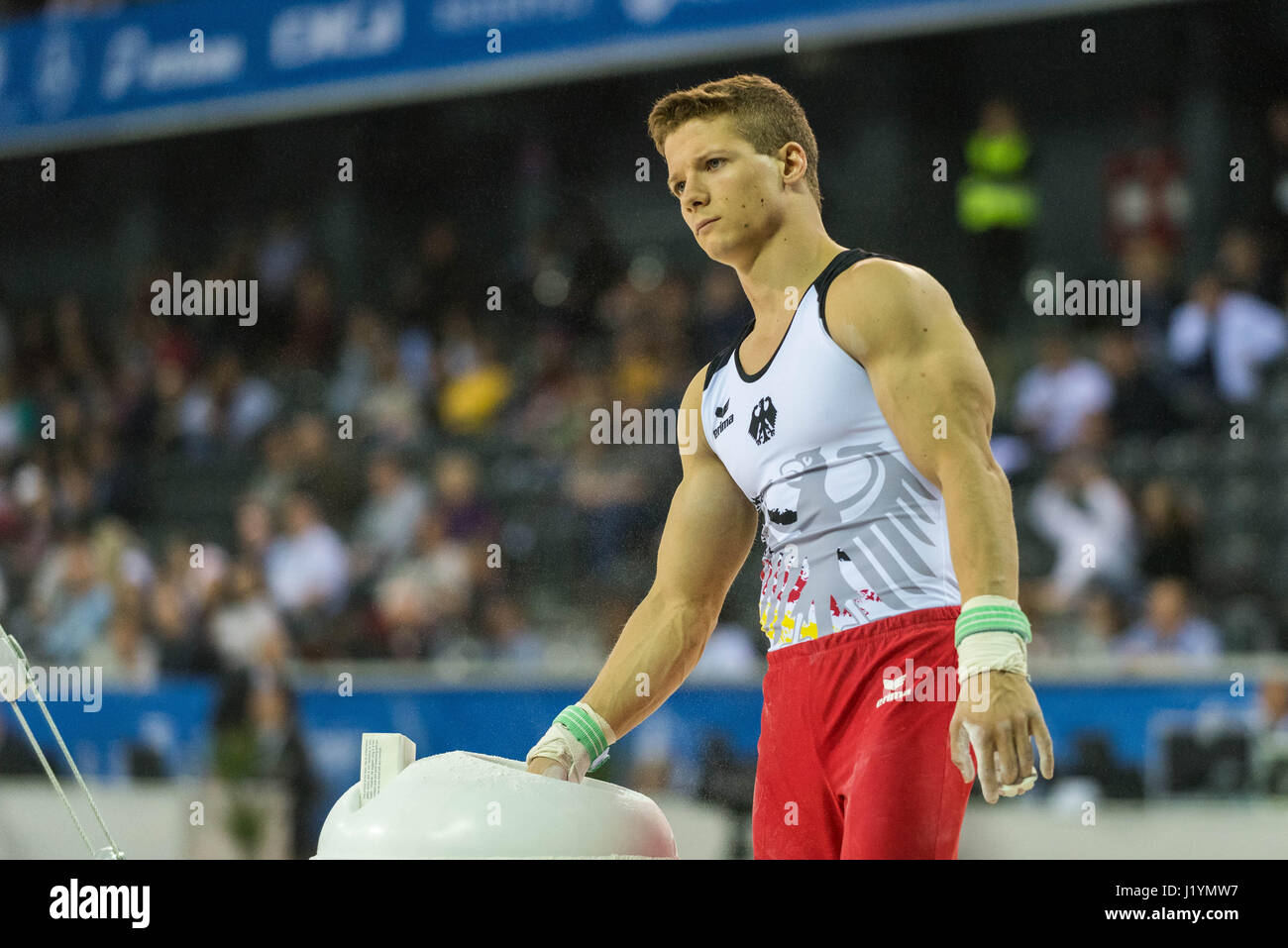 Cluj Napoca, Romania. 21st Apr, 2017. Philipp Herder from Germany performs at the rings at the UEG European Championships - Stock Image