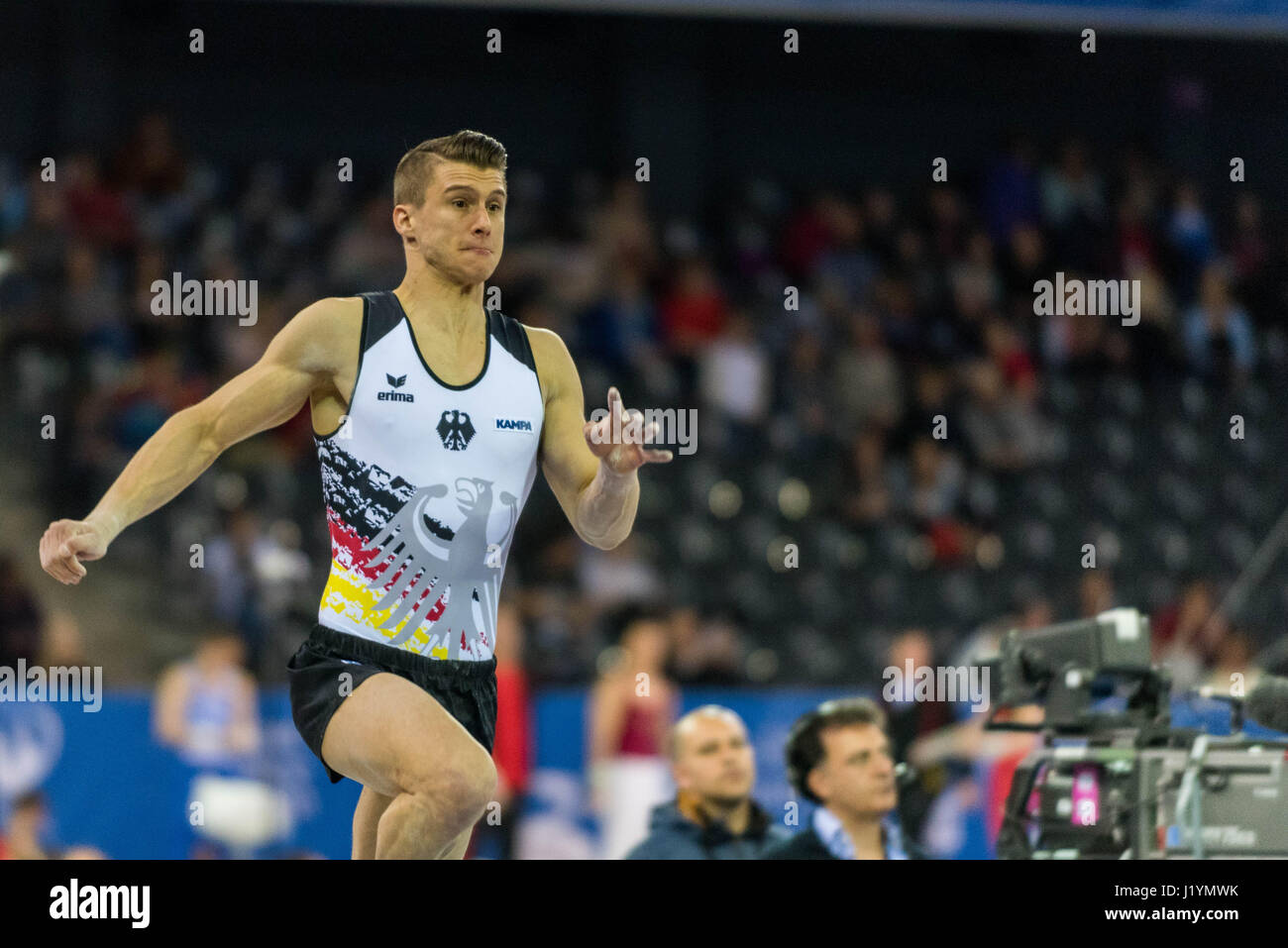 Cluj Napoca, Romania. 21st Apr, 2017. Lukas Dauser from Germany performs at the vault at the UEG European Championships - Stock Image