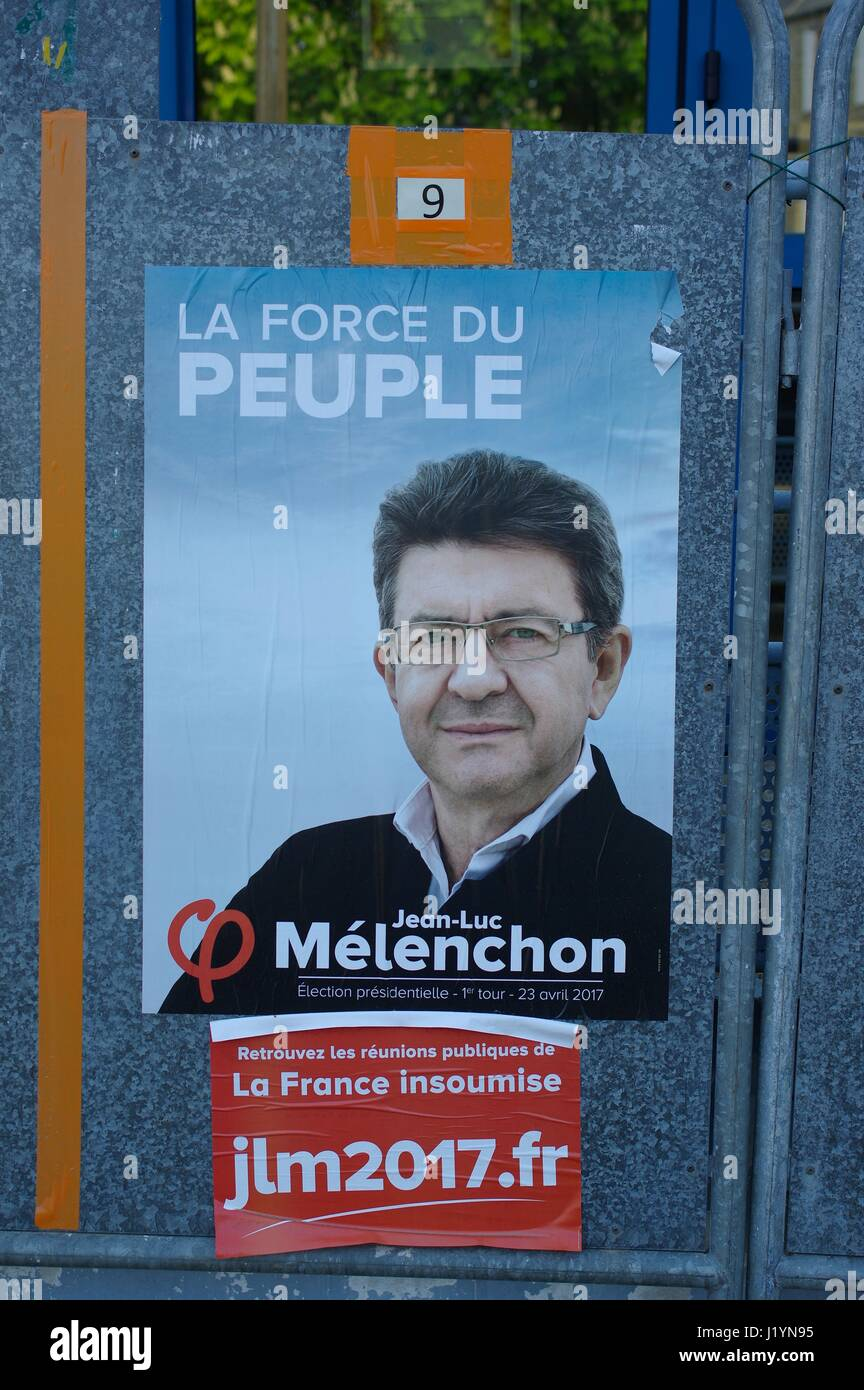Le Vieux-Marche, Brittany, France. 22nd April, 2017. Candidates are displayed outside quiet polling stations ahead - Stock Image