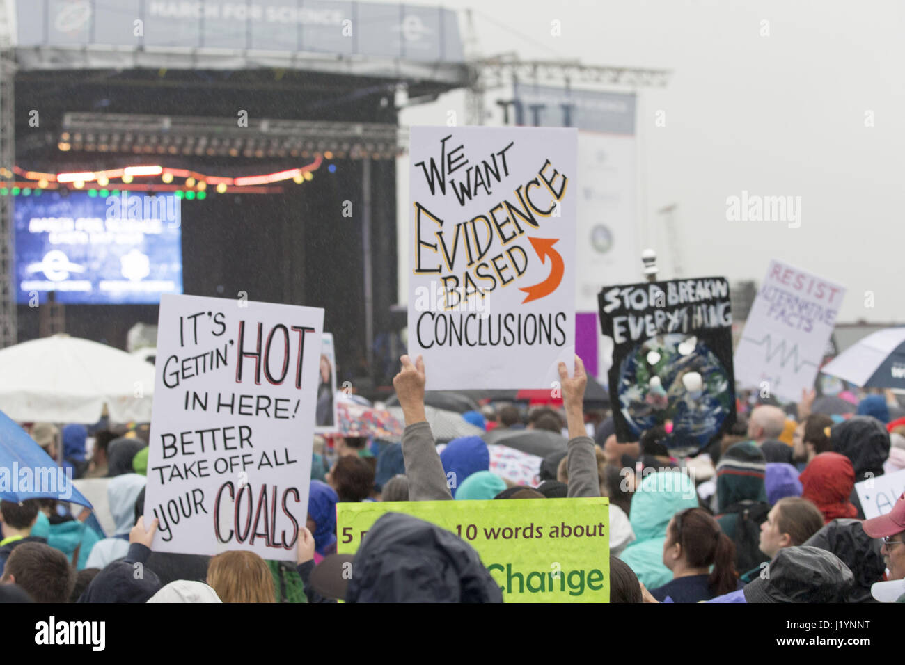 Washington, District Of Columbia, USA. 22nd Apr, 2017. Protest signs at the March For Science in Washington, DC Stock Photo