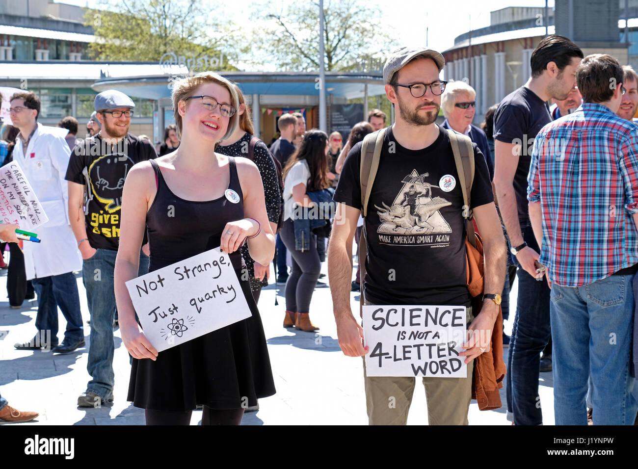 Bristol, UK. 22nd April, 2017. Protestors take part in the March for Science. The March for Science is intended Stock Photo