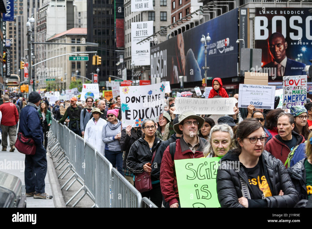 New York, USA. 22 April 2017 Thousands of protestors march from the Upper West Side to Times Square at the March Stock Photo