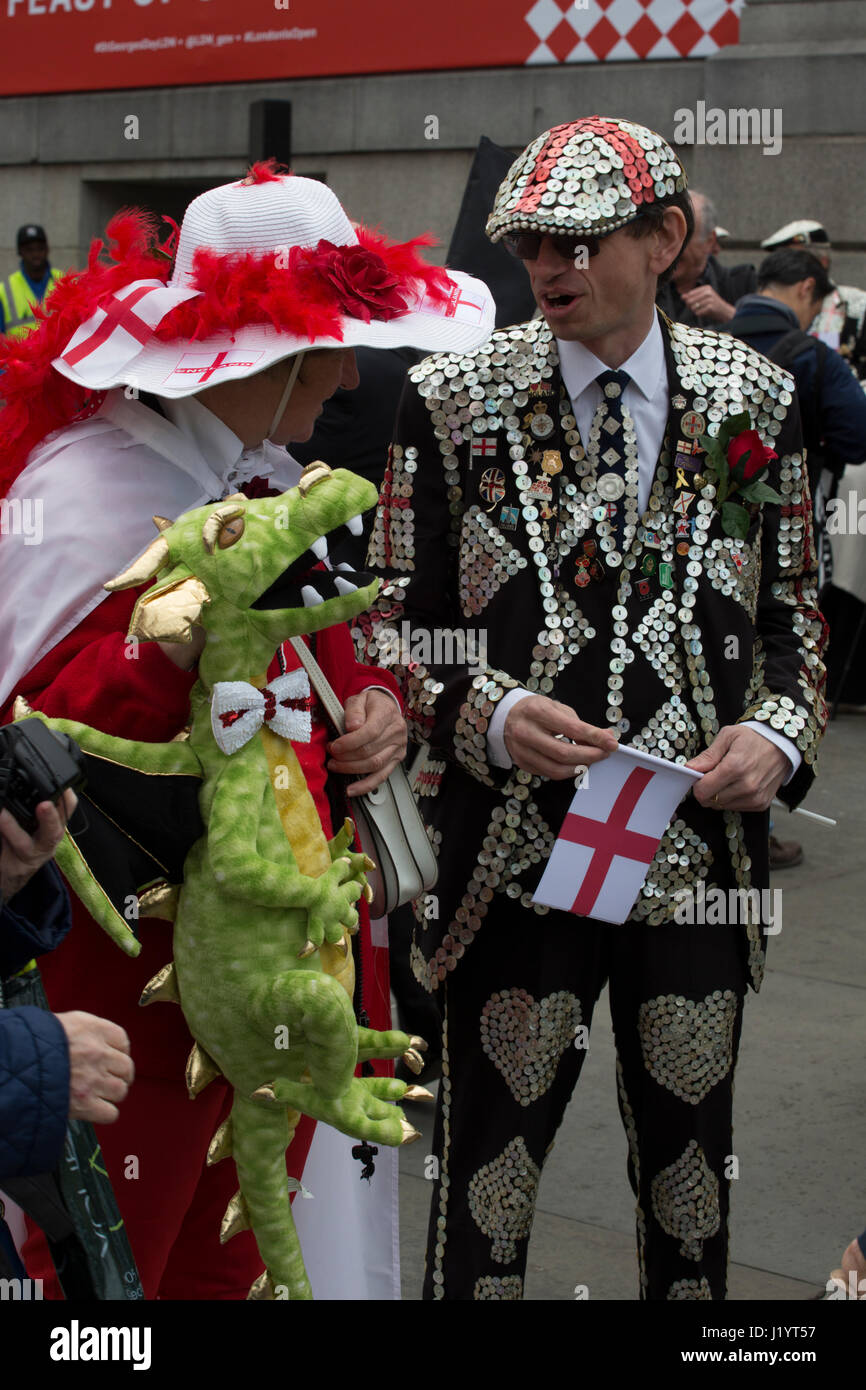 London, UK. 22nd April, 2017. St George's Day 2017 celebrations in Trafalgar Square in London, England United - Stock Image