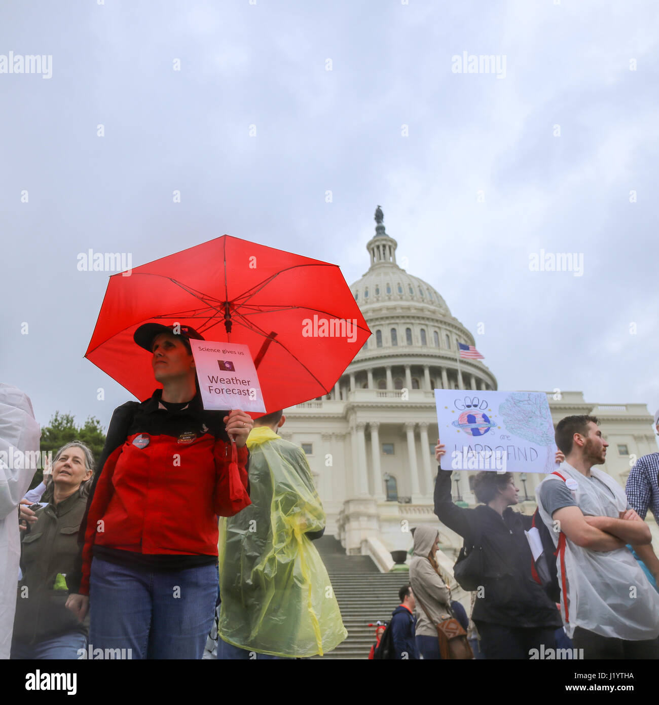 Washington DC, USA. 22nd April, 2017. Activists and protesters march to the United States Capitol as part of the Stock Photo