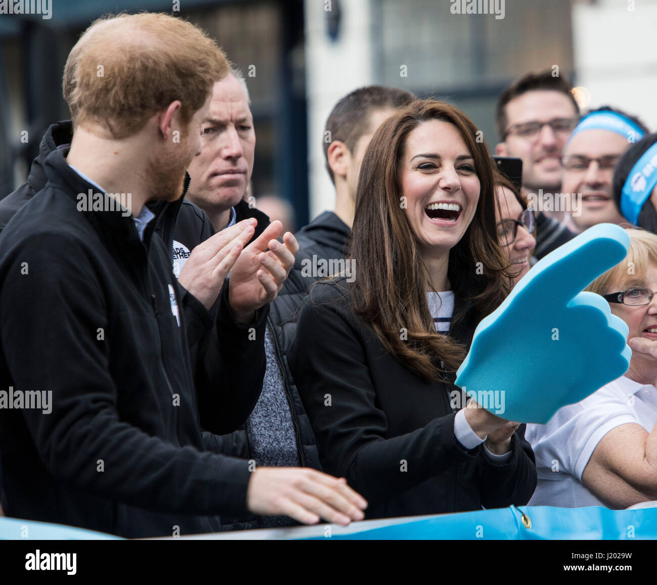 London, UK. 23rd Apr, 2017.  Virgin Money London Marathon. Prince Harry, Prince William, the Duke of Cambridge and Stock Photo