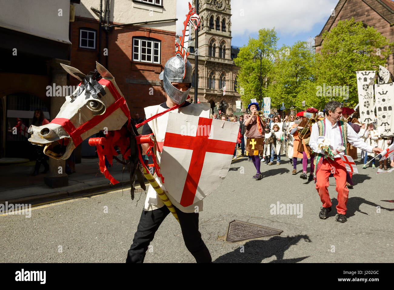 Chester, UK. 23rd April 2017. St George rides his horse through the streets of Chester as part of the St George's - Stock Image