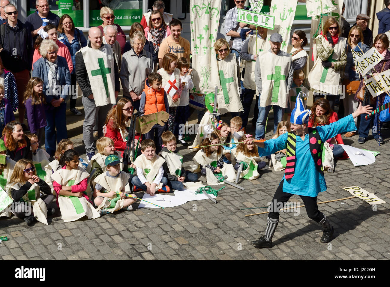 Chester, UK. 23rd April 2017. The St George's day street theatre performance in Chester city centre. Credit: - Stock Image