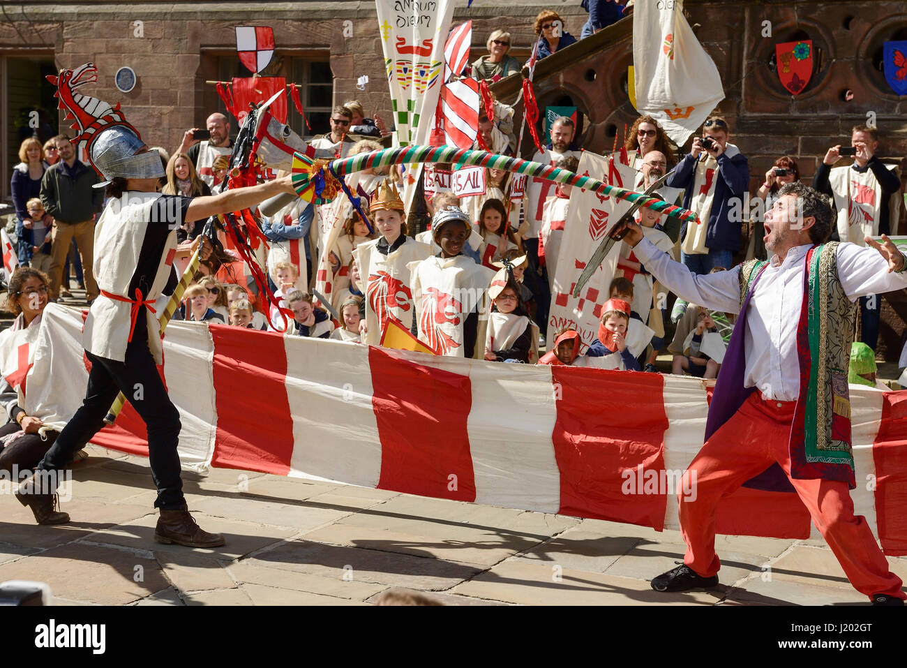 Chester, UK. 23rd April 2017. St George takes part in a jousting contest in Chester as part of the St George's - Stock Image